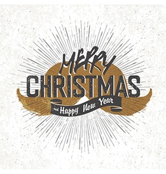 Vintage christmas lettering with santa mustaches vector