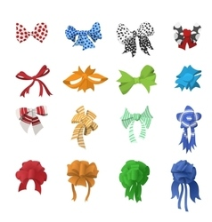 Cartoon bows and ribbons set vector image
