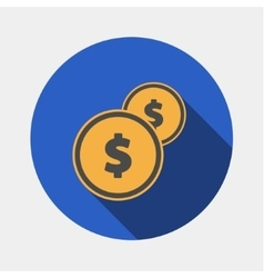 Coins icon with dollar sign vector