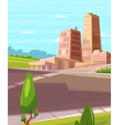 Beautiful sunshine over cartoon city with vector