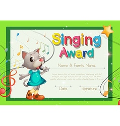 Singing award certificate template vector