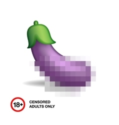 Eggplant closed by censorship symbol adult only vector