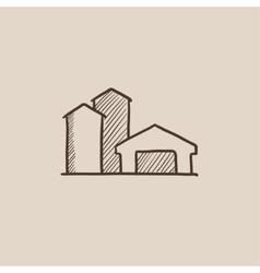 Farm buildings sketch icon vector image