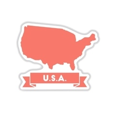 Paper sticker on white background united states vector