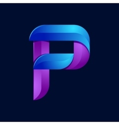P letter volume blue and purple color logo design vector