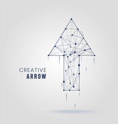 abstract arrow logo molecular connections with vector image