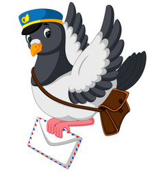 Cartoon funny pigeon bird delivering letter vector