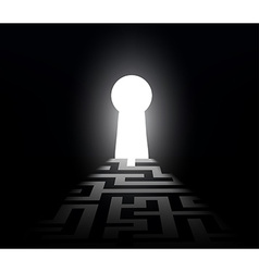 dark labyrinth with exit to the keyhole vector image