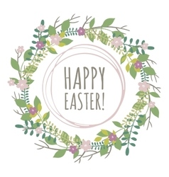 Easter greeting card with wreath from floral vector