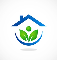 Eco garden house ecology people logo vector