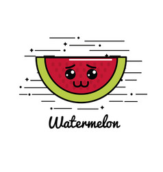 Emblem kawaii sad watermelon icon vector