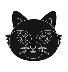fox muzzle icon in black style isolated on white vector image vector image