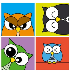 Funny Owls card vector image