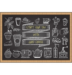 Hand drawn coffee elements on chalkboard vector