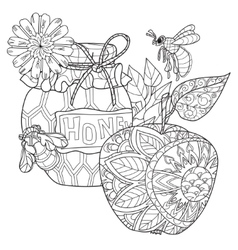 Honey pot apple doodle and bees vector