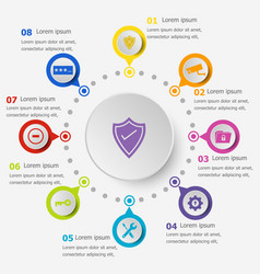 Infographic template with security icons vector