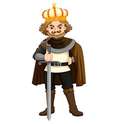 King with silver sword vector