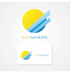 Logo combination of a sun and sea vector image