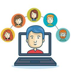 Man community online smartphone design vector
