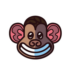 monkey head logo template vector image vector image