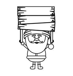 Monochrome contour of santa claus with wooden vector