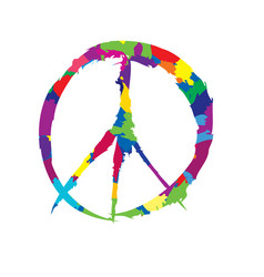 peace sign peace icon love peace label vector image vector image