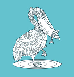 Pelican bird with fish color vector