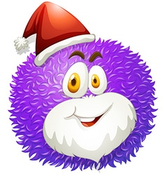Purple fluffy ball with santa hat vector