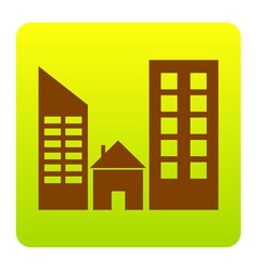 real estate sign brown icon at green vector image vector image