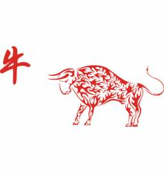 red chinese ox with hieroglyph vector image