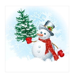 Snowmen on snow background vector image vector image