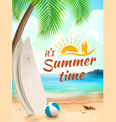 Summer time background surfboard on against beach vector image vector image