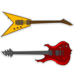 two beautiful guitars vector image vector image