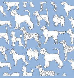 Unusual seamless pattern with cartoon dogs vector
