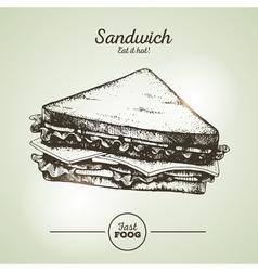 Vintage fast food sandwich sketch vector image