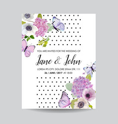 wedding invitation template botanical card vector image vector image