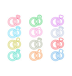 Wedding rings outline icons vector
