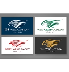Winged logo company card set business label with vector