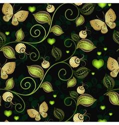 Seamless dark floral pattern with gold butterflies vector