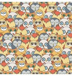 Random owls seamless pattern Cute nignht birds For vector image