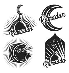 Vintage ramadan emblems vector