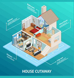 isometric house profile concept vector image