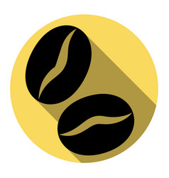 Coffee beans sign  flat black icon with vector