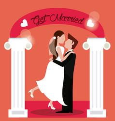 Get married groom carrying bride vector