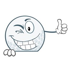 Winking golf ball holding a thumb up over sign vector