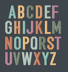 Vintage kids alphabet colorful letters vector