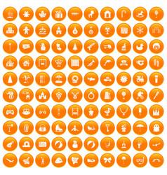 100 happy childhood icons set orange vector