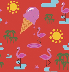 Summer seamless print with flamingo and ice cream vector