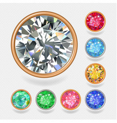 Round shape top view bezel colored gems vector