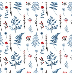 Retro seamless pattern with flowers vector